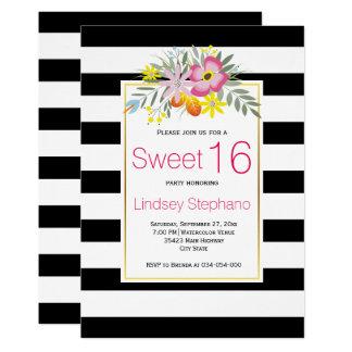 ピンクの花、ストライプなsweet sixteenの誕生日 12.7 x 17.8 インビテーションカード