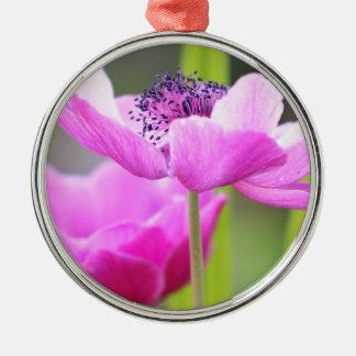 ピンクの花 メタルオーナメント