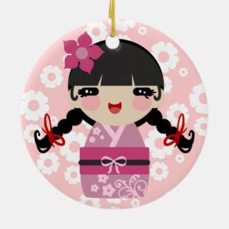 ピンクの花Kokeshi セラミックオーナメント