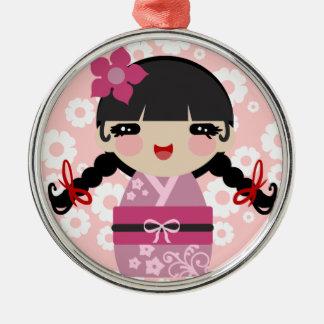 ピンクの花Kokeshi メタルオーナメント
