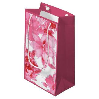 ピンクの芸術的な花 スモールペーパーバッグ