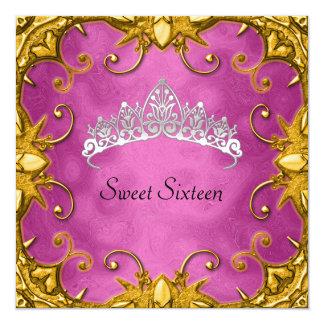 ピンクの菓子16の誕生会の金ゴールドの白のティアラ カード