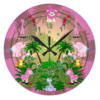 ピンクの葉のジャングルのおもしろい ラージ壁時計