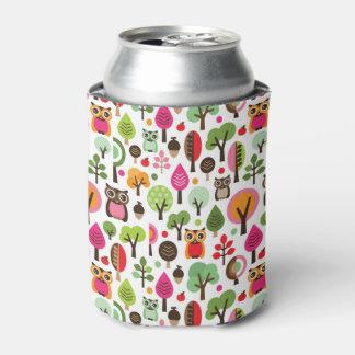 ピンクの葉の木のレトロのフクロウパターン 缶クーラー