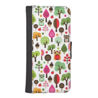 ピンクの葉の木のレトロのフクロウパターン iPhoneSE/5/5sウォレットケース