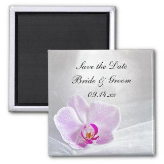 ピンクの蘭およびブライダルのベールの結婚式は日付を救います マグネット
