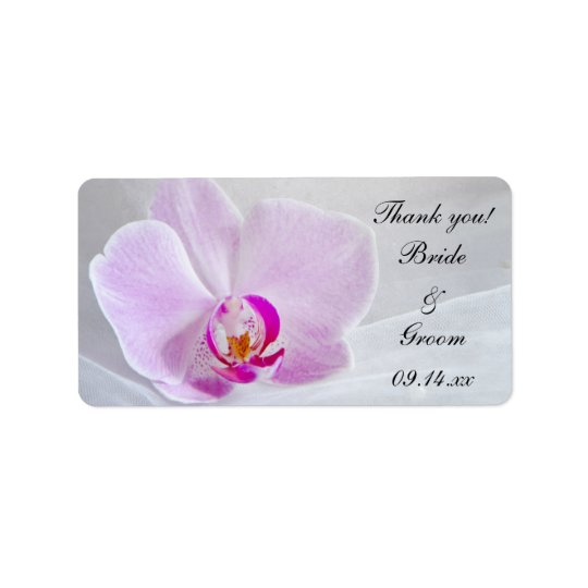 ピンクの蘭およびベールの結婚式はメッセージカード感謝していしています ラベル