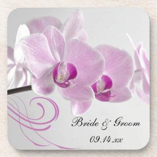 ピンクの蘭の優雅の結婚式 コースター