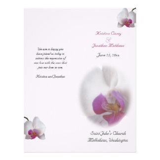 ピンクの蘭の結婚式プログラム チラシ
