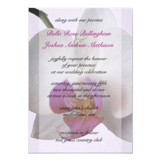 ピンクの蘭の結婚式招待状 カード
