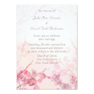 ピンクの蘭の結婚式 12.7 X 17.8 インビテーションカード