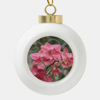 ピンクの蘭の花 セラミックボールオーナメント