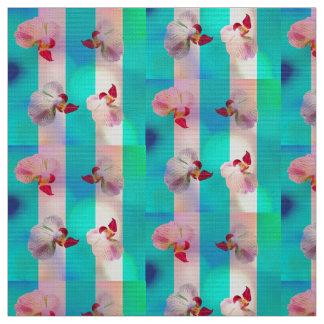 ピンクの蘭はとの縞で飾ります ファブリック
