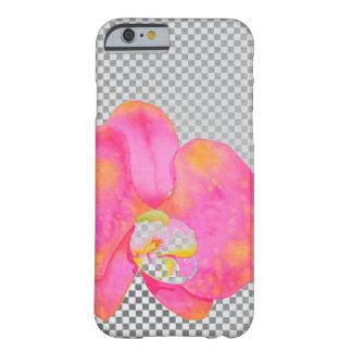 ピンクの蘭灰色および白のチェッカー BARELY THERE iPhone 6 ケース