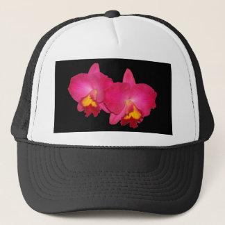 ピンクの蘭、黒いトラック運転手の帽子 キャップ