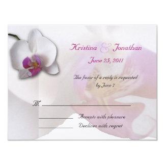 ピンクの蘭RSVP 5.5x4.25の招待状 カード