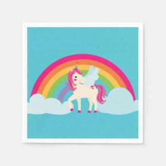 ピンクの虹のユニコーンはナプキンをからかいます スタンダードカクテルナプキン