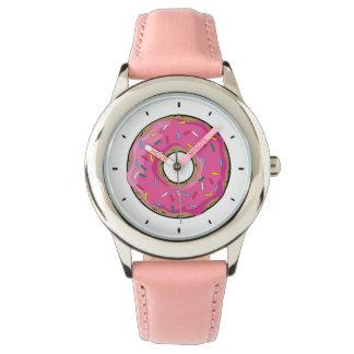ピンクの虹はドーナツを振りかけます 腕時計