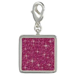 ピンクの虹色のグリッター チャーム