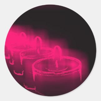 ピンクの蝋燭 丸形シール・ステッカー
