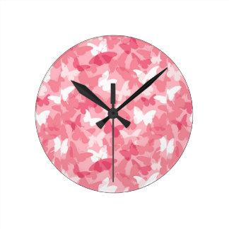ピンクの蝶カムフラージュの柱時計 時計