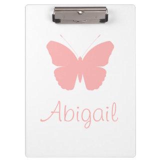 ピンクの蝶シルエットのデザイン(名前入りな) クリップボード