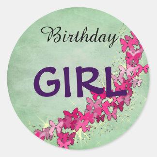 ピンクの蝶プリンセスの誕生日の女の子のステッカー ラウンドシール