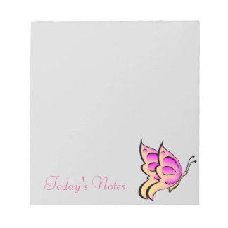 ピンクの蝶メモ帳 ノートパッド
