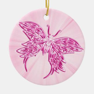 ピンクの蝶 セラミックオーナメント