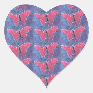ピンクの蝶 ハートシール