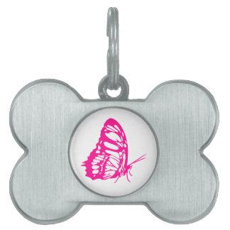 ピンクの蝶 ペットネームタグ