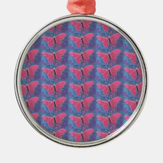 ピンクの蝶 メタルオーナメント