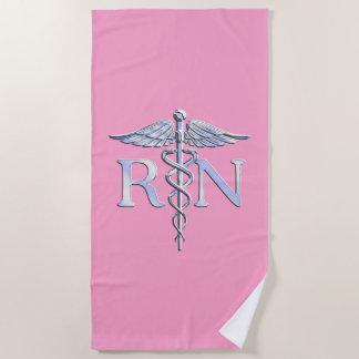 ピンクの装飾の公認看護師RNのケリュケイオン ビーチタオル