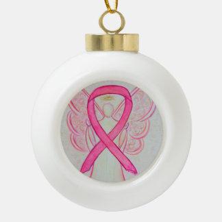 ピンクの認識度のリボンの天使のオーナメント セラミックボールオーナメント