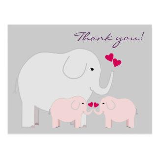 ピンクの象は郵便はがき感謝していしています ポストカード