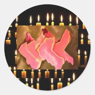 ピンクの賞賛-バラの花びらの芸術 ラウンドシール