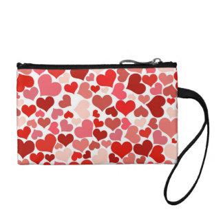 ピンクの赤いハートパターンバレンタインデー愛ギフト コインパース