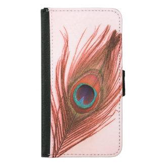 ピンクの赤い孔雀の羽 GALAXY S5 ウォレットケース