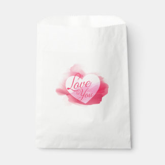 ピンクの赤い水彩画のハートのバッグ-結婚式愛して下さい フェイバーバッグ