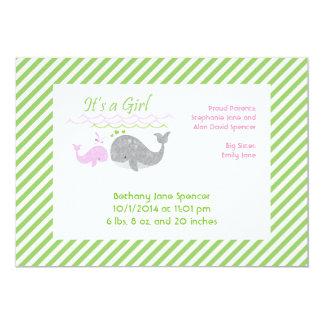 ピンクの赤ん坊のクジラの誕生の発表カード 12.7 X 17.8 インビテーションカード