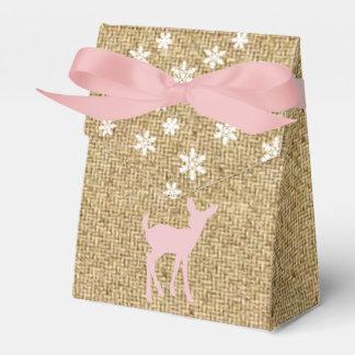 ピンクの赤ん坊のシカおよび雪片のバーラップの好意箱 フェイバーボックス