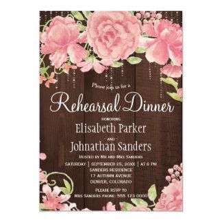 ピンクの赤面のばら色のシャクヤクの素朴なリハーサルの夕食 12.7 X 17.8 インビテーションカード