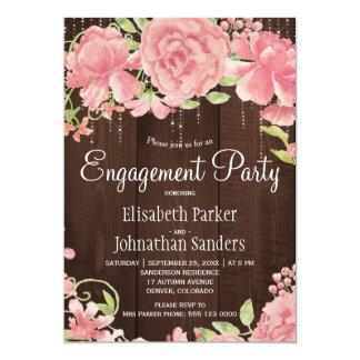 ピンクの赤面のばら色のシャクヤクの素朴な婚約パーティ 12.7 X 17.8 インビテーションカード