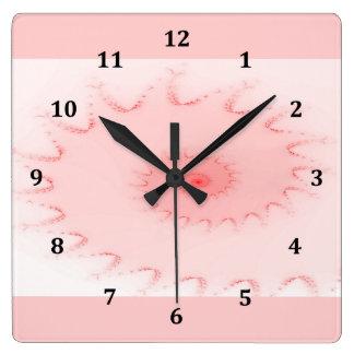 ピンクの赤面のオウムガイの抽象芸術 スクエア壁時計