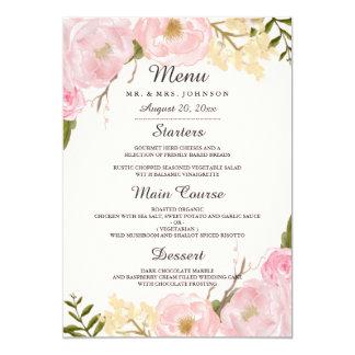 ピンクの赤面の植物の花の結婚式夕食メニュー カード