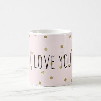ピンクの赤面の金ゴールドの輝きの紙吹雪 コーヒーマグカップ