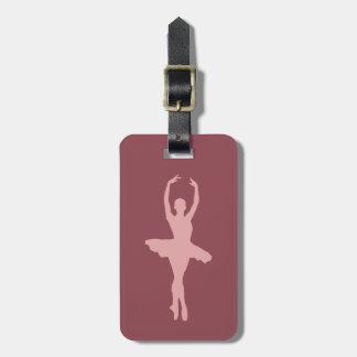 ピンクの踊りのバレリーナ ラゲッジタグ