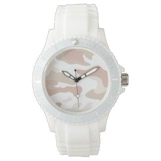 ピンクの軍隊の白いケイ素の腕時計 腕時計