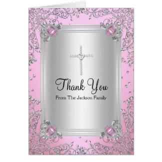 ピンクの輝きの宝石の洗礼のサンキューカード カード
