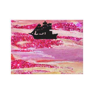ピンクの輝きの帆船の想像の海洋波 キャンバスプリント